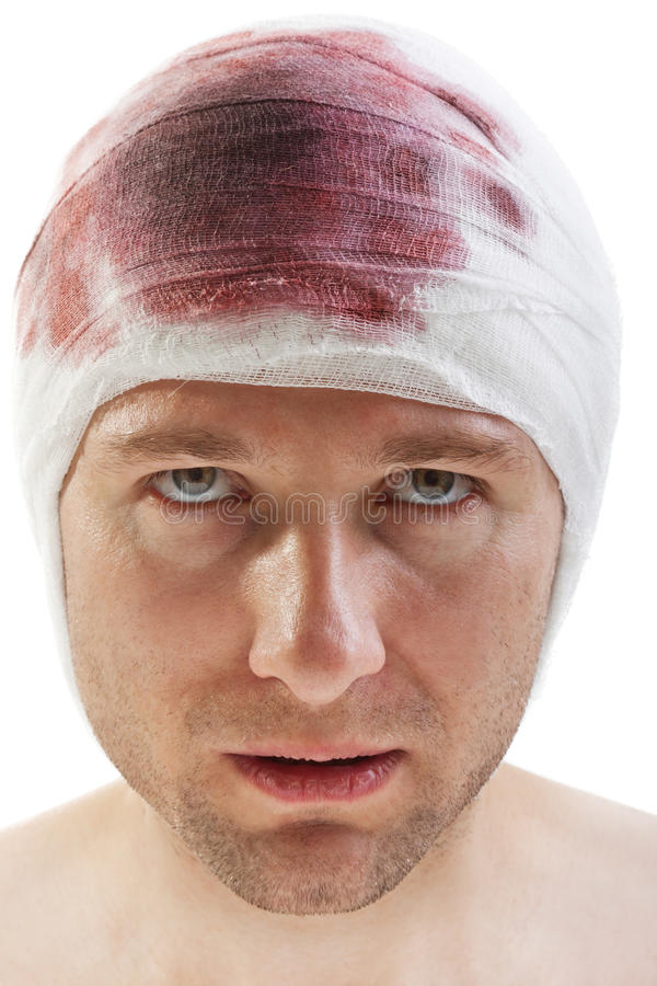 Bandage on blood wound head. Bandage on human brain concussion blood wound head royalty free stock photography