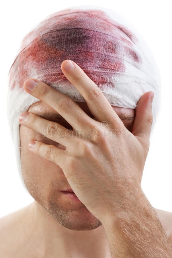 Bandage on blood wound head. Bandage on human brain concussion blood wound head royalty free stock photo