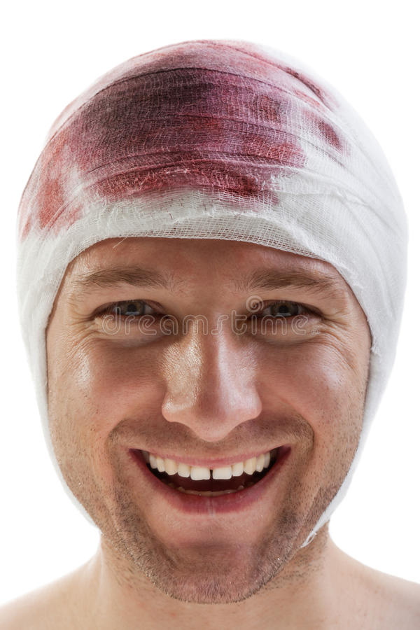 Bandage on blood wound head. Bandage on human brain concussion blood wound head stock images