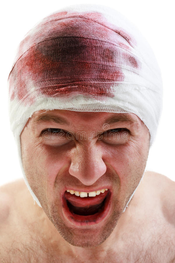 Bandage on blood wound head. Bandage on human brain concussion blood wound head royalty free stock image