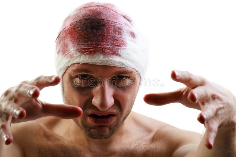 Bandage on blood wound head. Bandage on human brain blood wound head stock image
