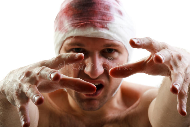 Bandage on blood wound head. Bandage on human brain blood wound head royalty free stock photos