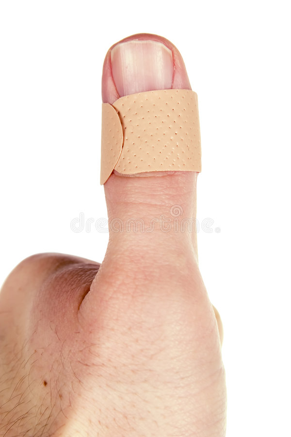 Bandage de pouce photo stock