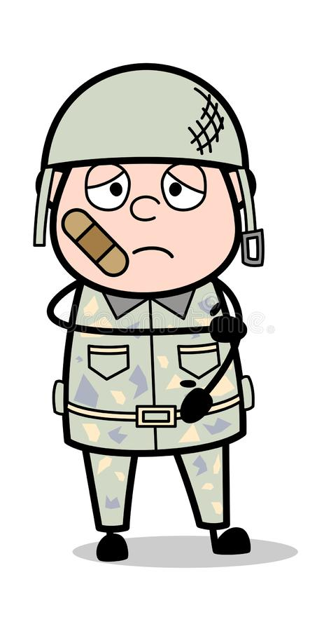 Bandage on Face - Cute Army Man Cartoon Soldier Vector Illustration. Cute Army Man Cartoon Soldier Vector Illustration and simple clip-art design stock illustration