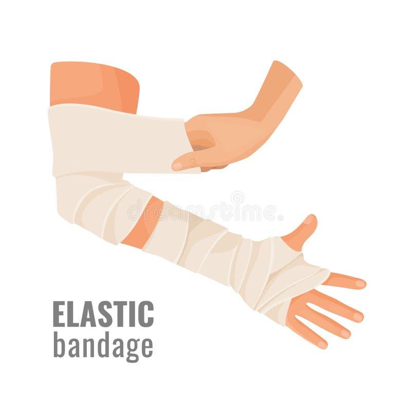 Bandage médical élastique enroulé autour de la main d'humain de mal illustration libre de droits