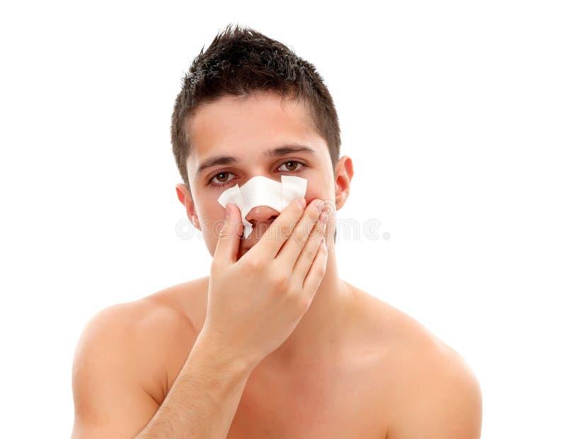 Bandage on nose royalty free stock photography
