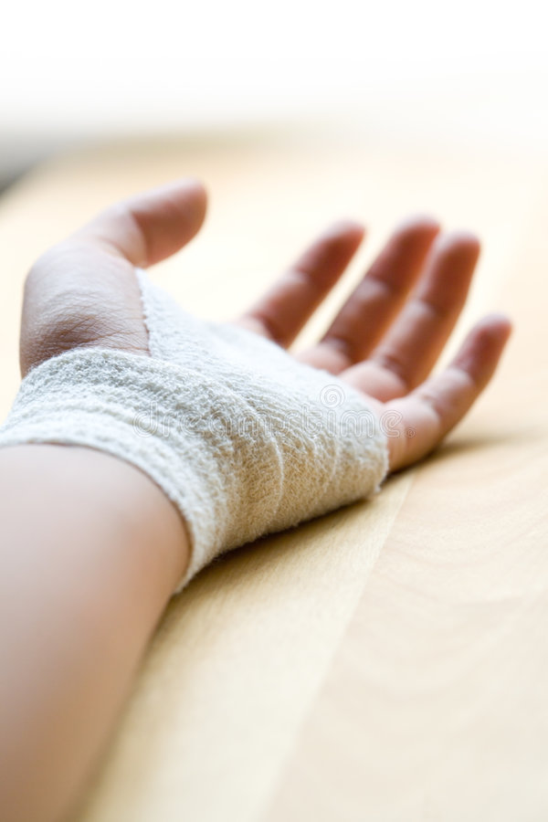 Download Bandaged wrist close up stock photo. Image of experience - 7158028
