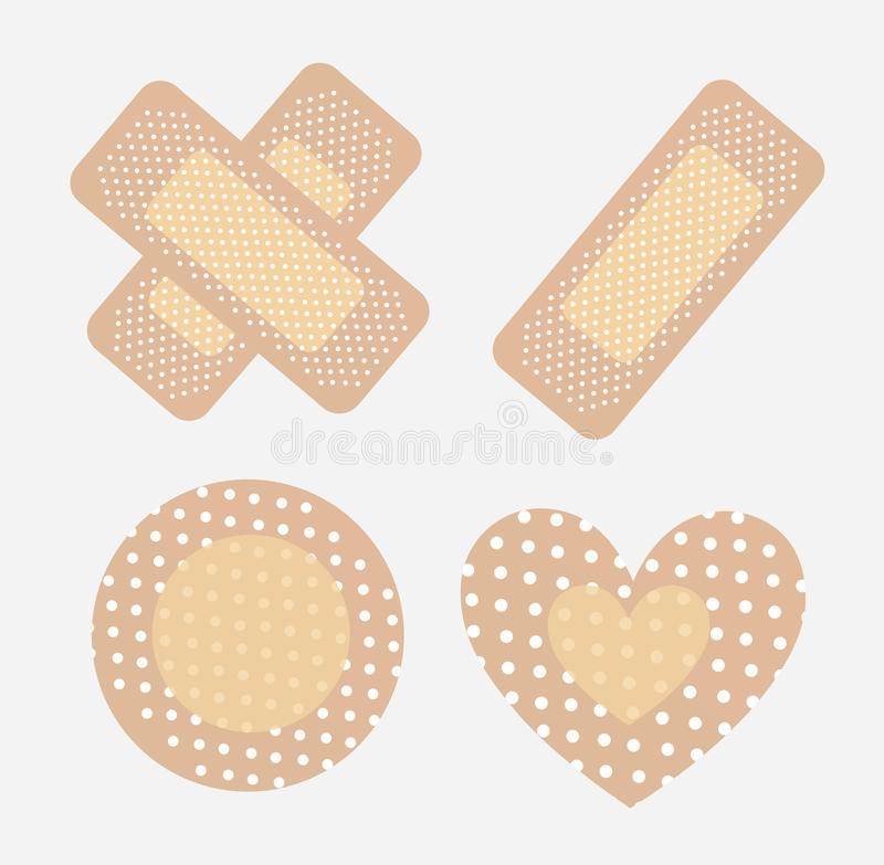 Bandages. For wounds in different ways over white background vector illustration