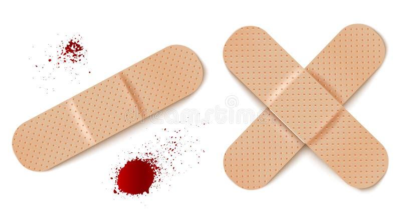 Bandages d'aide et baisses de sang illustration de vecteur