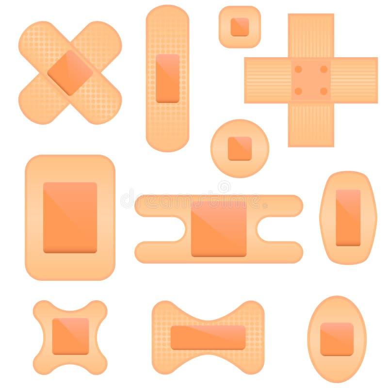 bandaid комплект иконы иллюстрация вектора