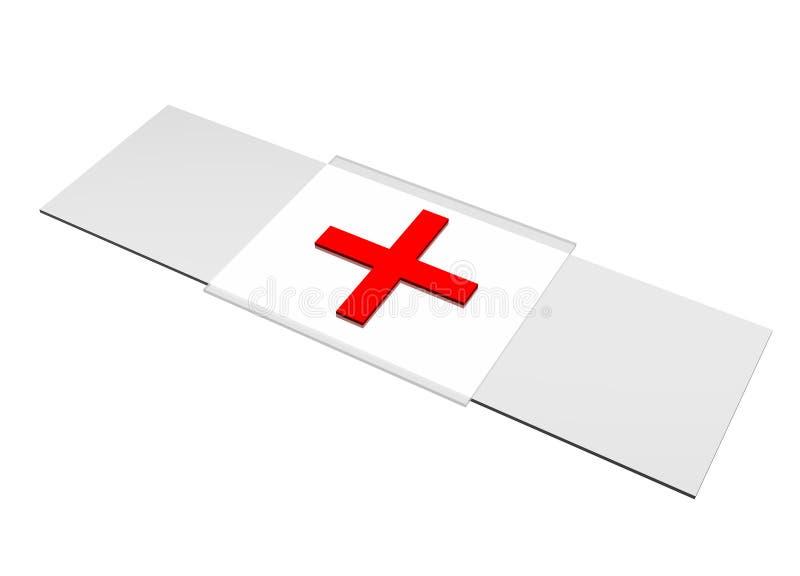 Bandaid de Croix-Rouge de correction d'isolement sur le blanc illustration libre de droits
