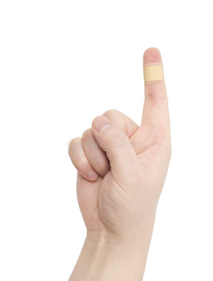 Bandaid on finger stock image