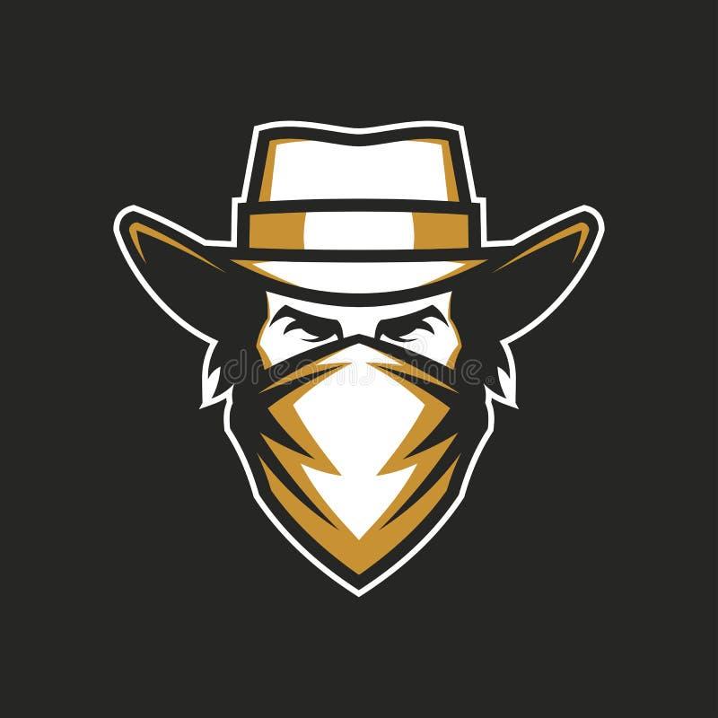 Мужская голова в ковбойской шляпе и bandana иллюстрация вектора