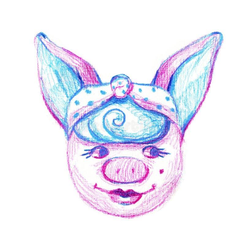 Bandana смешной свиньи нося белизна изолированная предпосылкой Милая иллюстрация акварели бесплатная иллюстрация