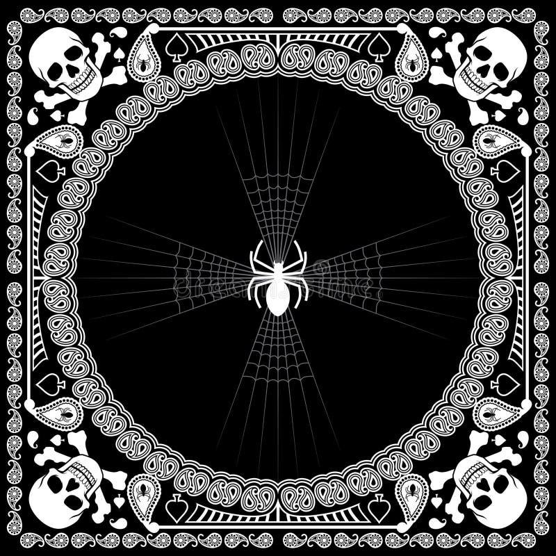 Bandana pattern skull and spider royalty free illustration