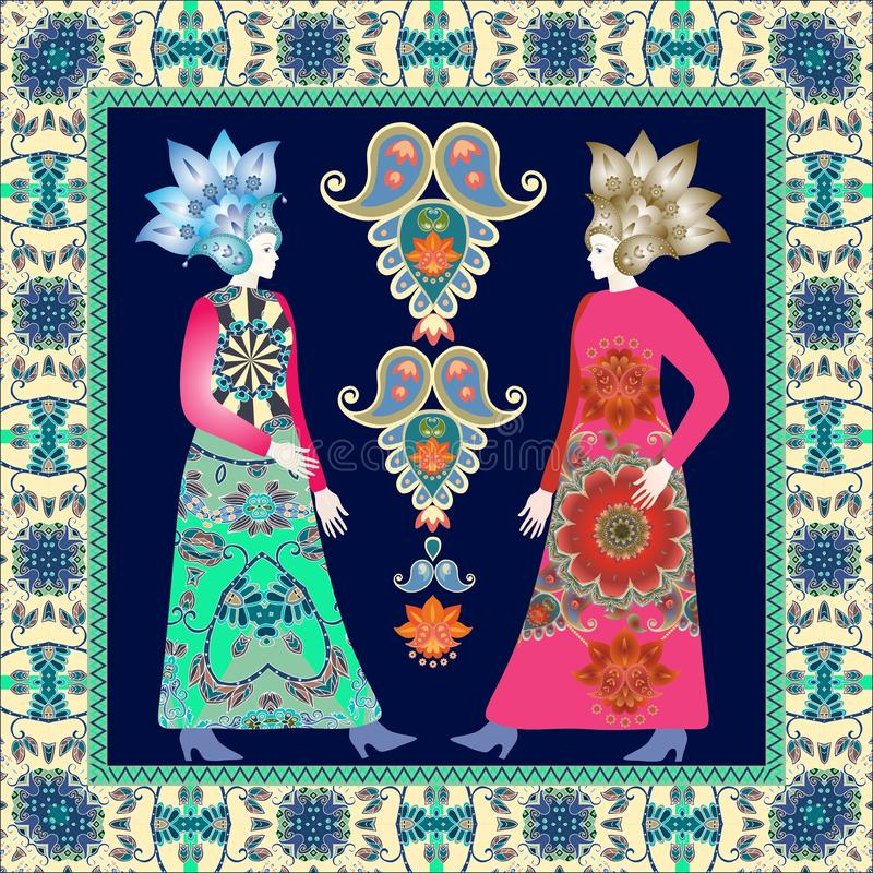 Bandana print with pretty females in vintage dress in russian style and ornamental border. Vector design. Paisley floral pattern stock illustration