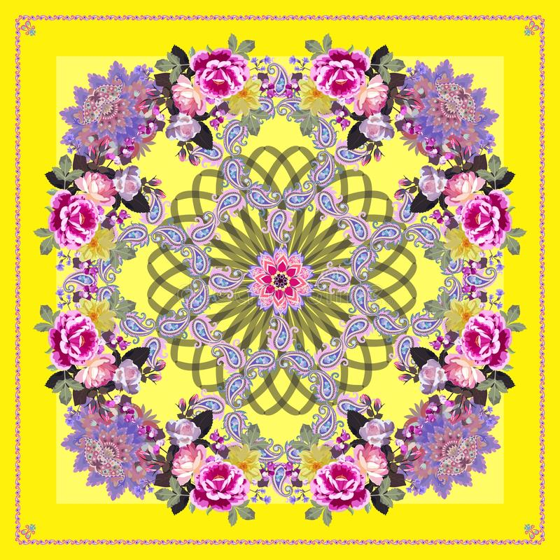 Free Bandana Print, Square Carpet Or Doily With Mandala, Beautiful Paisley Ornament And Bouquets Of Garden Flowers On Lemon Yellow Stock Images - 161520024