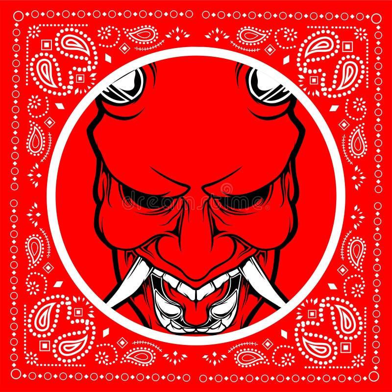 Bandana skull demon hand drawing vector vector illustration