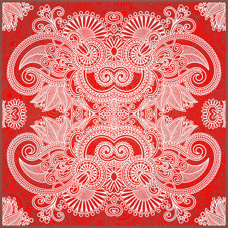 bandana traditionella blom- dekorativa paisley stock illustrationer