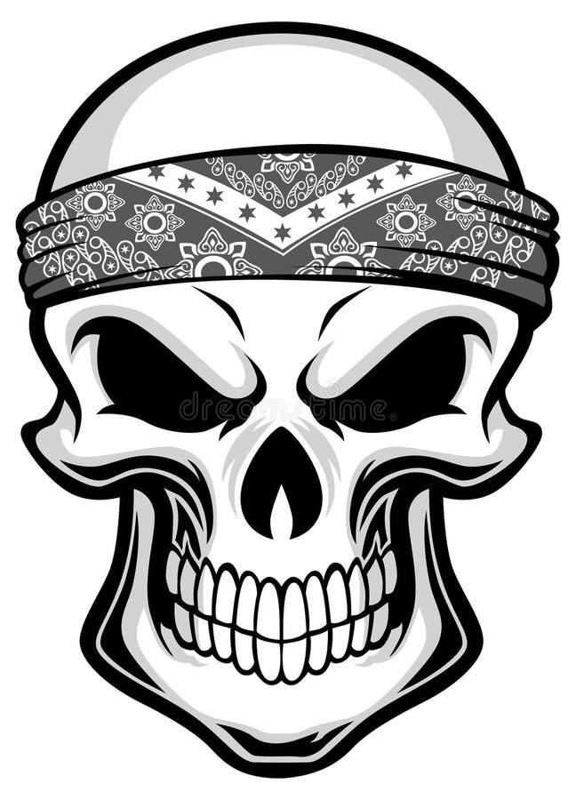 Bandana vestindo do crânio ilustração do vetor