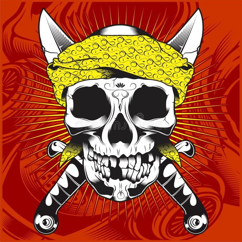Bandana vestindo do crânio principal e espada-vetor transversal ilustração do vetor