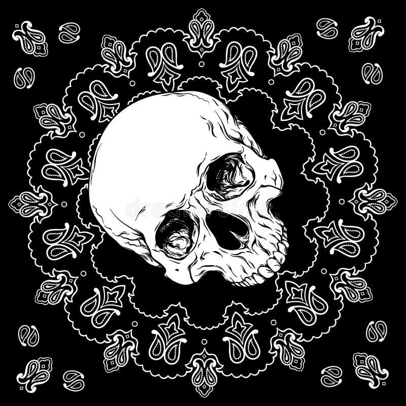Bandana zwart-wit ontwerp met schedel en het ornamentvector van Paisley stock illustratie