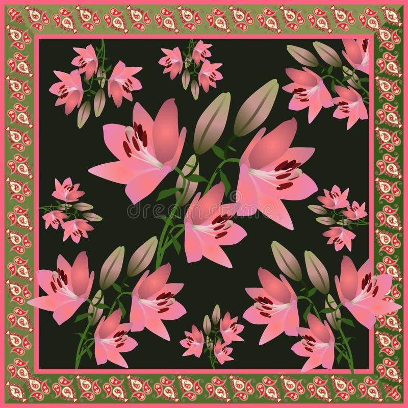 Bandanadruck- oder -taschenentwurf mit rosa Lilienblumen auf schwarzem Hintergrund und Paisley-Grenze in der ethnischen Art im Ve vektor abbildung
