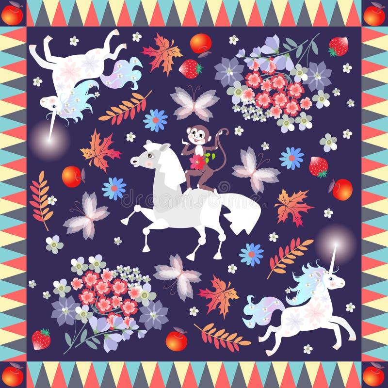 Bandanadruk met leuke beeldverhaaldieren - eenhoorns, paard en vrolijke aap - op botanische achtergrond stock illustratie