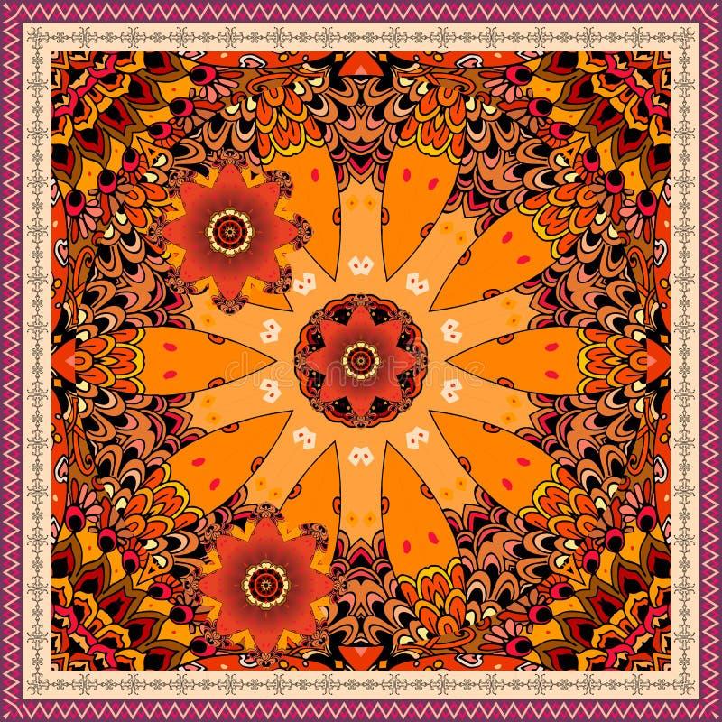 Bandanadruk met mooie gestileerde klok en rode tulpen op sierachtergrond Etnisch motief vector illustratie