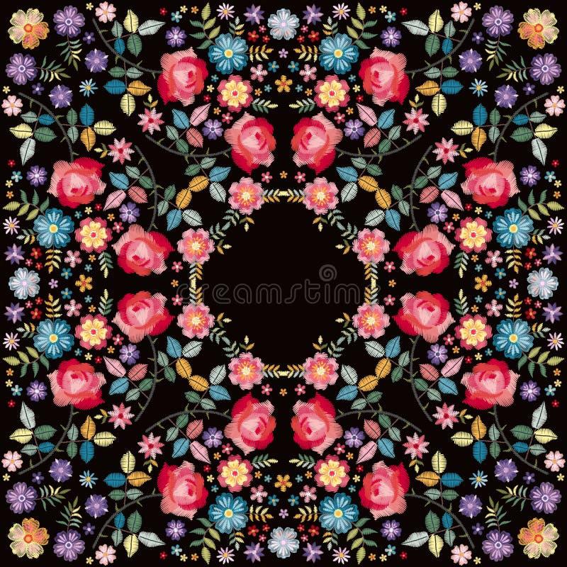 Bandanadruk met symmetrisch bloemenornament op zwarte achtergrond Mooie illustratie voor vierkante sjaal, sjaal, hoofddoek royalty-vrije illustratie