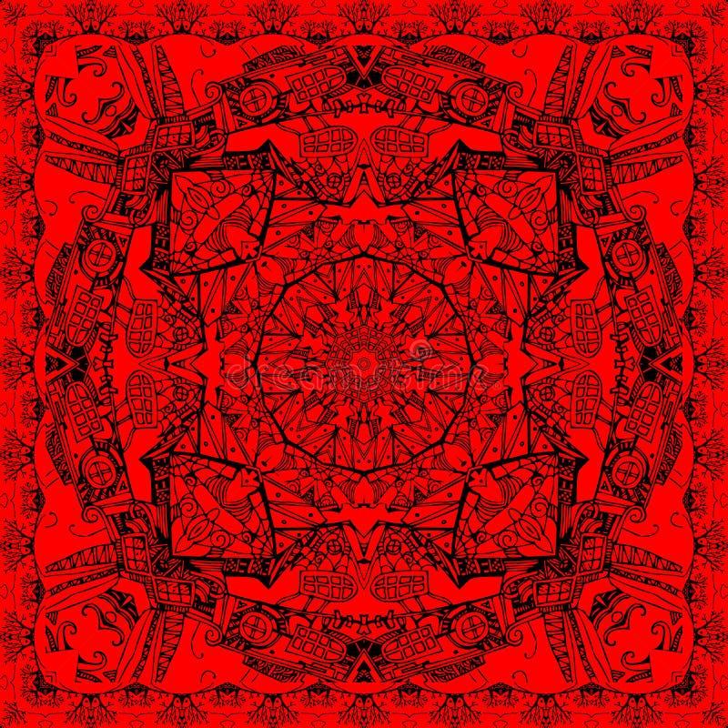 Bandanadruk in rode en zwarte kleuren De gestileerde middeleeuwse torens van de stads witn fantasie en diverse vensters, Web en b royalty-vrije illustratie