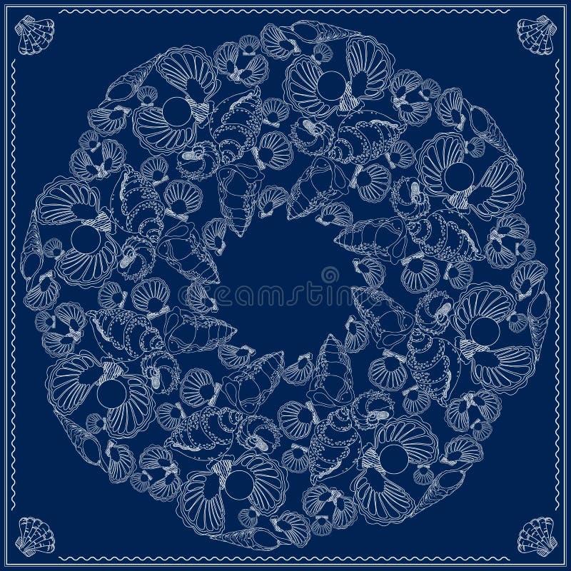 Bandanafyrkantmodell Flotta-themed illustration för vektor på blått royaltyfri illustrationer