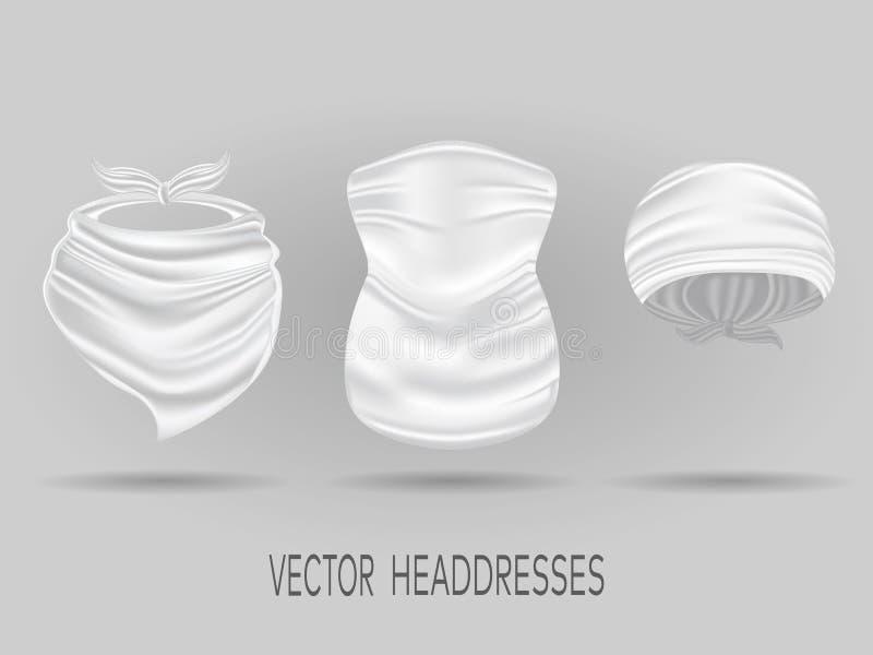 Bandanas, bufanda de cuello y piel de ante principales blancos Vector realista ilustración del vector