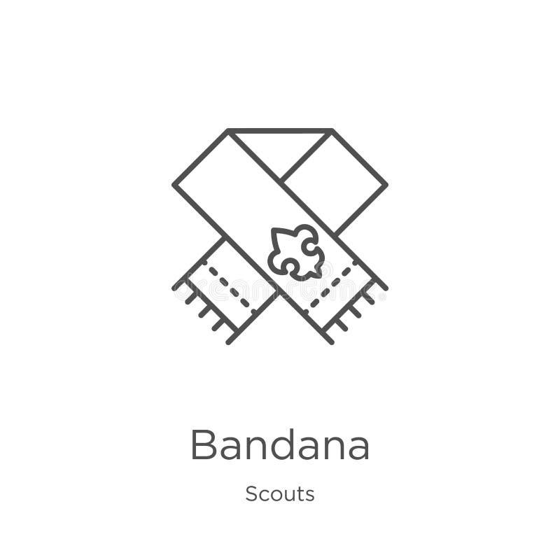 bandanasymbolsvektorn från spanar samlingen Tunn linje illustration för vektor för bandanaöversiktssymbol Översikt tunn linje ban stock illustrationer