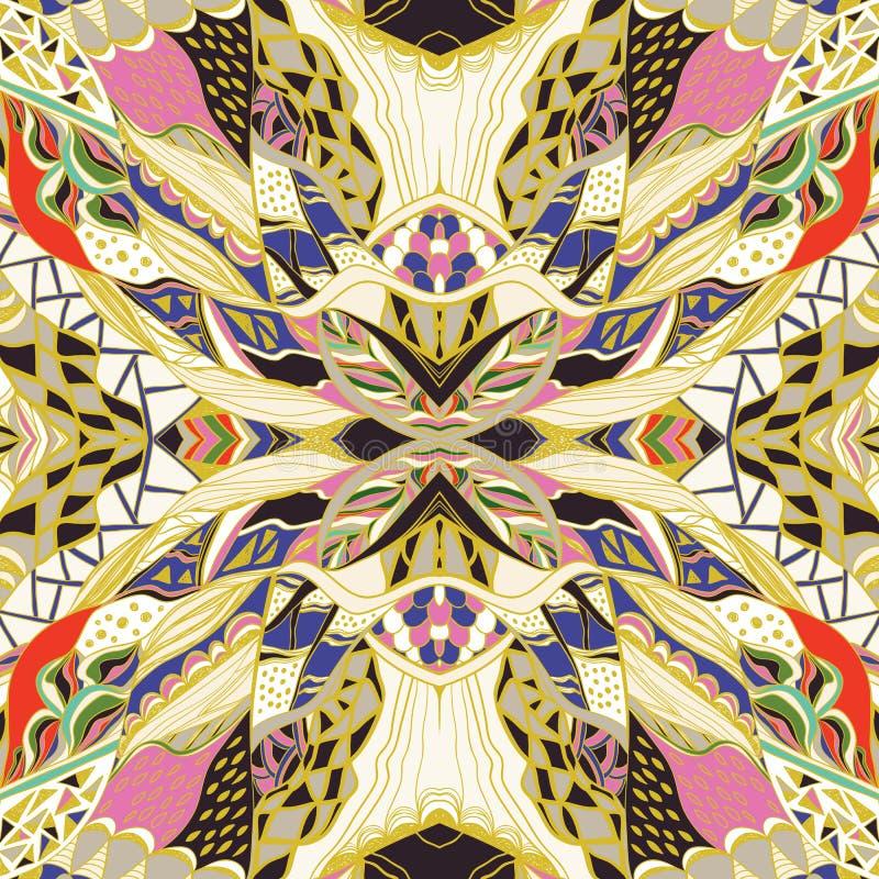 Bandanna ornementale traditionnelle de Paisley Modèle aztèque coloré tiré par la main avec le modèle artistique image stock