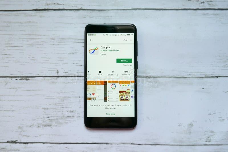 BANDAR SERI BEGAWAN BRUNEI - JANUARI 21ST, 2019: Bläckfiskapplikation på en androidGoogle Play Store royaltyfri fotografi
