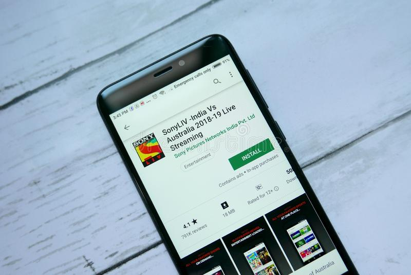 BANDAR SERI BEGAWAN,BRUNEI - JANUARY 21ST,2019 : SonyLIV application on an android Google Play Store. stock photo