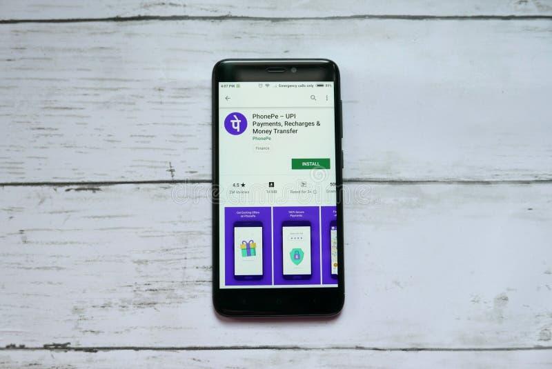 BANDAR SERI BEGAWAN, BRUNEI - 21 JANVIER 2019 : Application de PhonePe sur un Google Play Store androïde image libre de droits