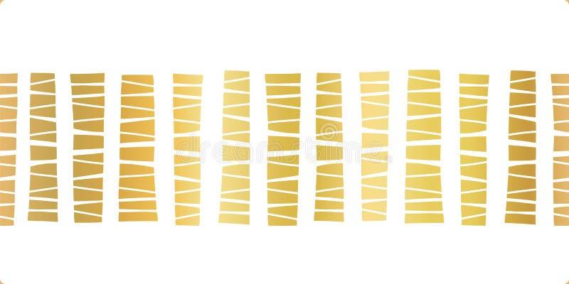 Bandas de ouro de borda sem costura Ilustração abstrata de padrão vetorial Trim de fita elegante Dourado metálico brilhante ilustração royalty free