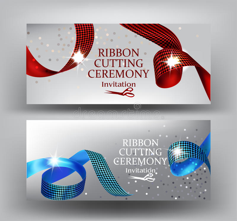 Bandausschnittzeremonie-Einladungsfahnen mit gelocktem Rotem und blau mit Druckbändern vektor abbildung