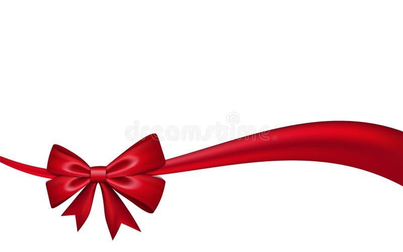 Bandbogengeschenk, lokalisierter wei?er Hintergrund Festlicher Rahmen des roten Entwurfs des Satins Dekoratives Weihnachten, Vale stock abbildung