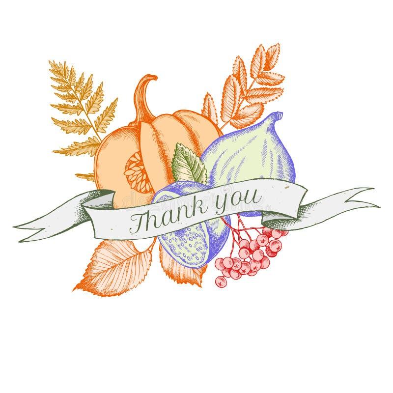 Banddesignen av höstgrönsaker med tackar dig att sjunga Hand tecknad vektorillustration stock illustrationer
