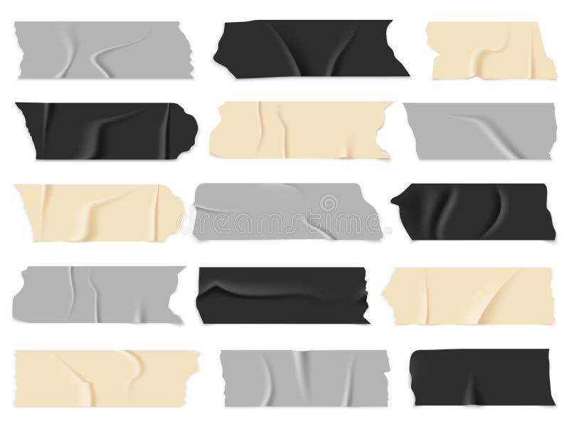 Bande écossaise Rubans adhésifs transparents, morceaux collants Ensemble d'isolement de vecteur illustration de vecteur