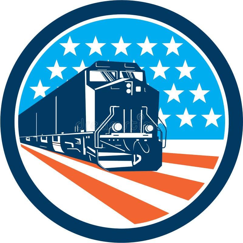 Bande americane delle stelle del treno diesel retro illustrazione vettoriale