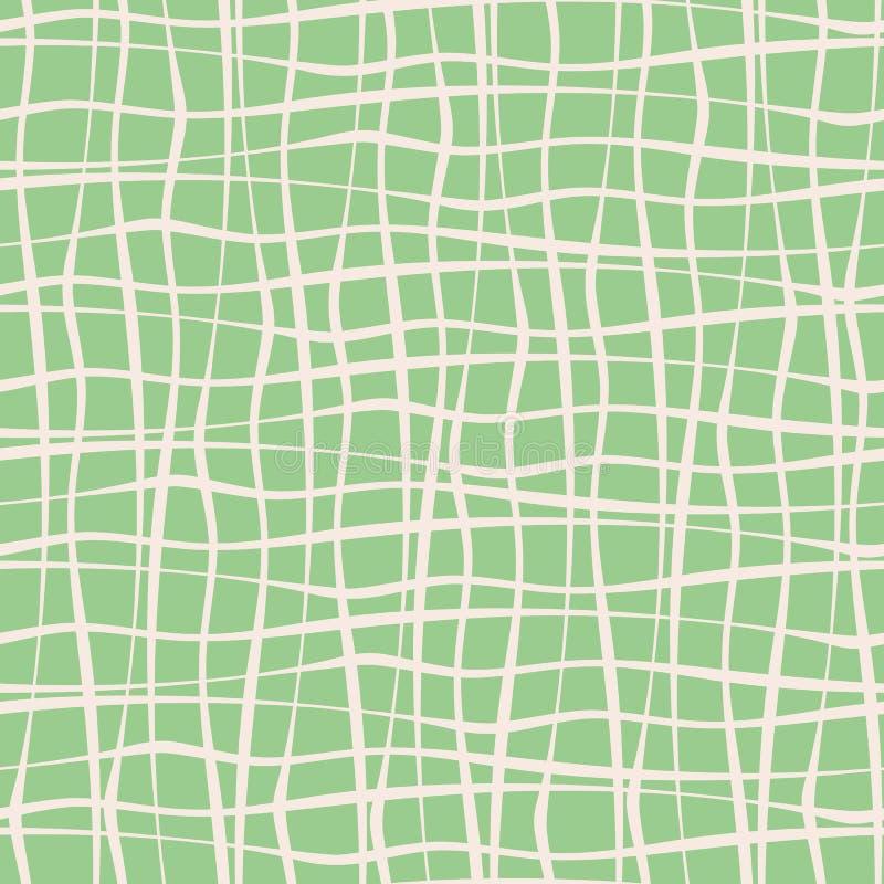 Bande bianche dell'incrocio irregolare disegnato a mano verticale ed orizzontale sul fondo di verde della menta Vector il reticol illustrazione di stock