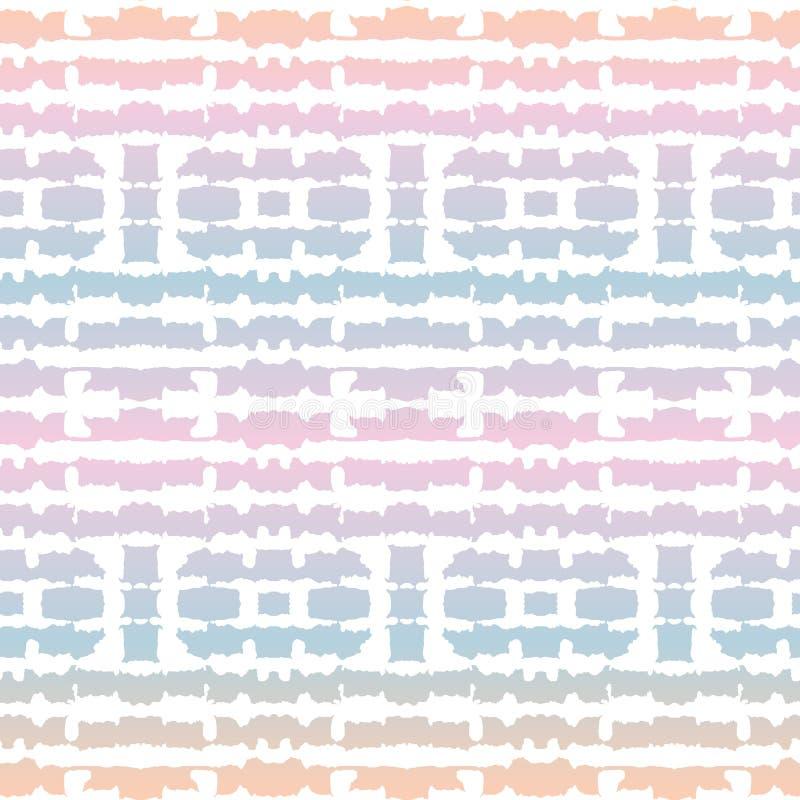 Bande bianche rispecchiate orizzontali astratte di Shibori della Legame-tintura sul modello senza cuciture di vettore olografico  illustrazione di stock