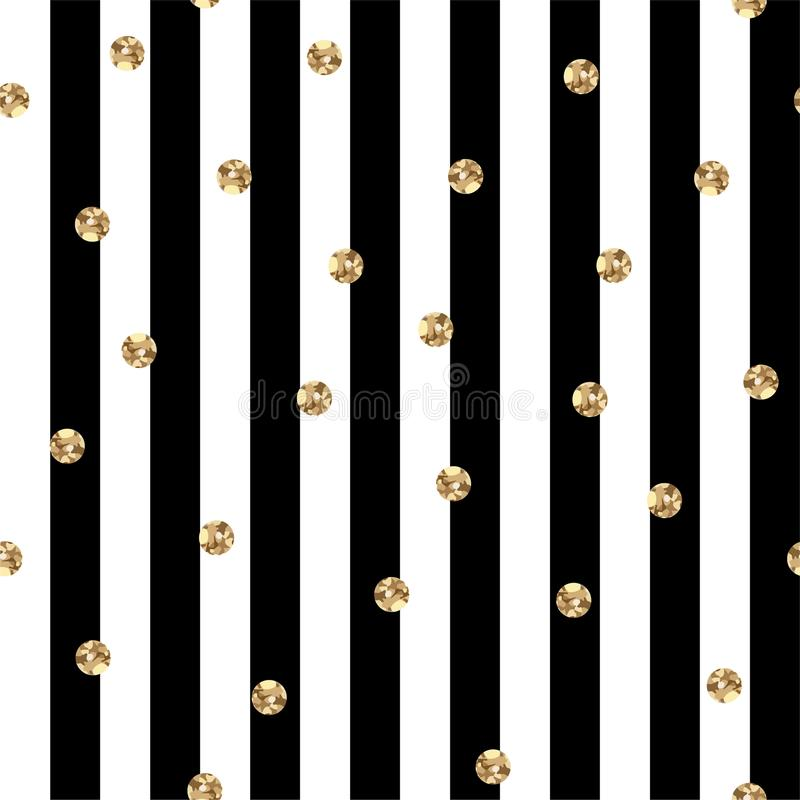 Bande in bianco e nero con la Polka Dots Seamless Pattern dell'oro royalty illustrazione gratis