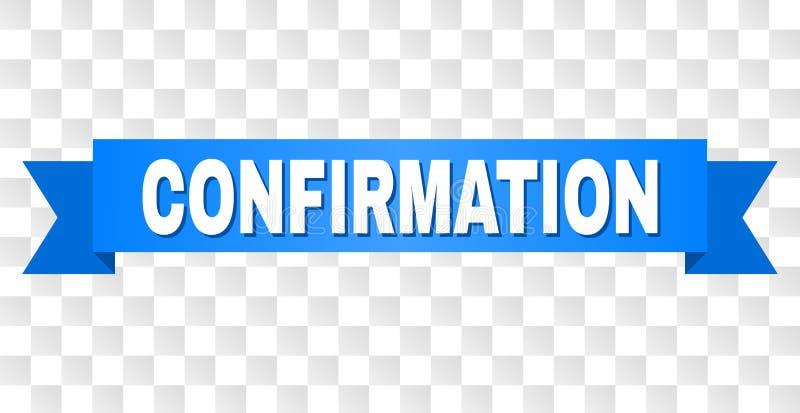 Bande bleue avec le texte de CONFIRMATION illustration stock