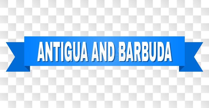 Bande bleue avec le texte de l'ANTIGUA-ET-BARBUDA illustration stock