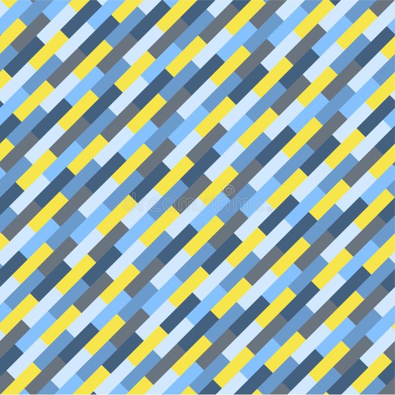 Bande blu e gialle geometriche variopinte astratte del modello, illustrazione vettoriale